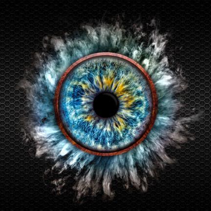 Blaue Iris mit Ring mit Mehl-Nebel
