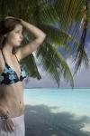 Urlaub-Strand-Bikini-Palmen-Composing-Fotomontage